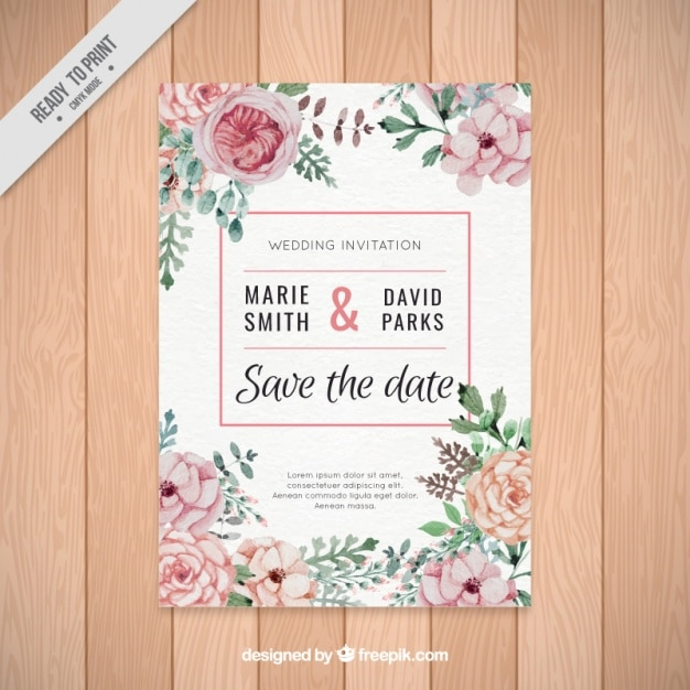 Beautiful Wedding Invitation Of Watercolor Flowers Free Vector