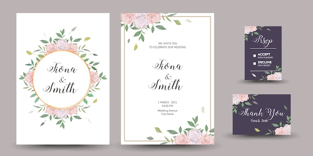 美しい結婚式の招待状や花柄のグリーティングカード。 Premiumベクター