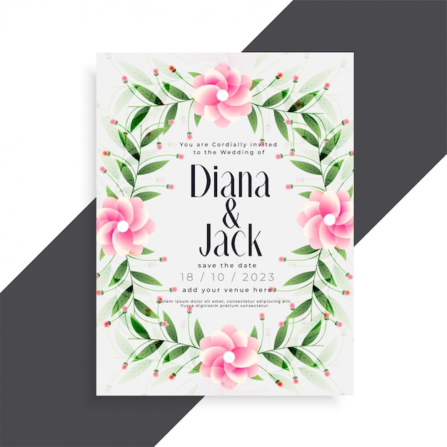 Beautiful wedding invitation pink flower card\ design