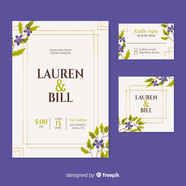 Beautiful wedding invitation on  purple background Free Vector