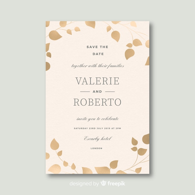 Beautiful wedding invitation template in flat design Free Vector