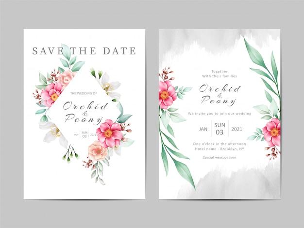 Beautiful wedding invitation template set of watercolor peonies flowers Premium Vector