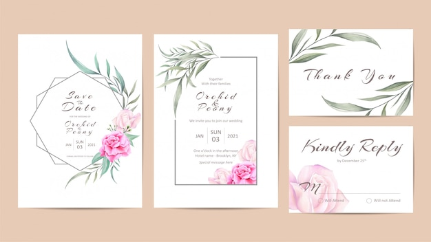 Beautiful wedding invitation template set with watercolor roses Premium Vector