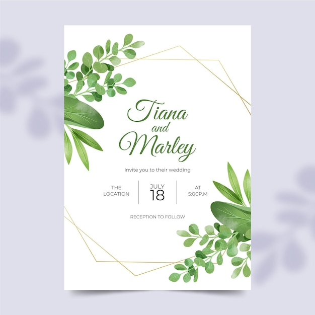 Beautiful wedding invitation template with floral ornaments Free Vector