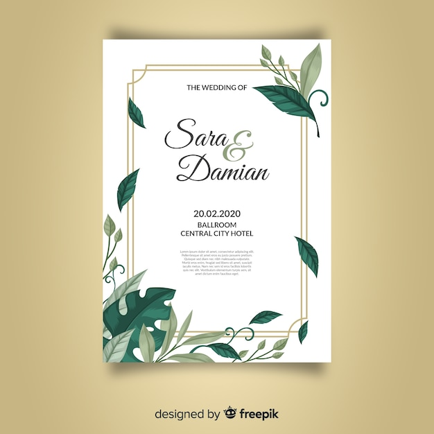 Beautiful wedding invitation template with leaves and golden frame Free Vector
