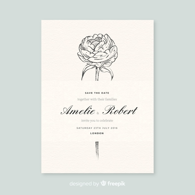Beautiful wedding invitation template with peony flowers Free Vector