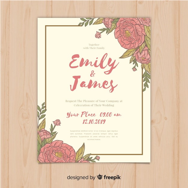 Beautiful wedding invitation template with peony flowers ...