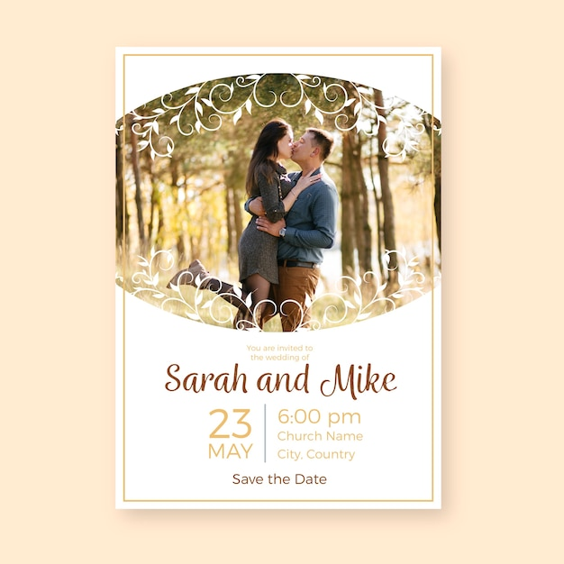 Beautiful wedding invitation template with photo Free Vector