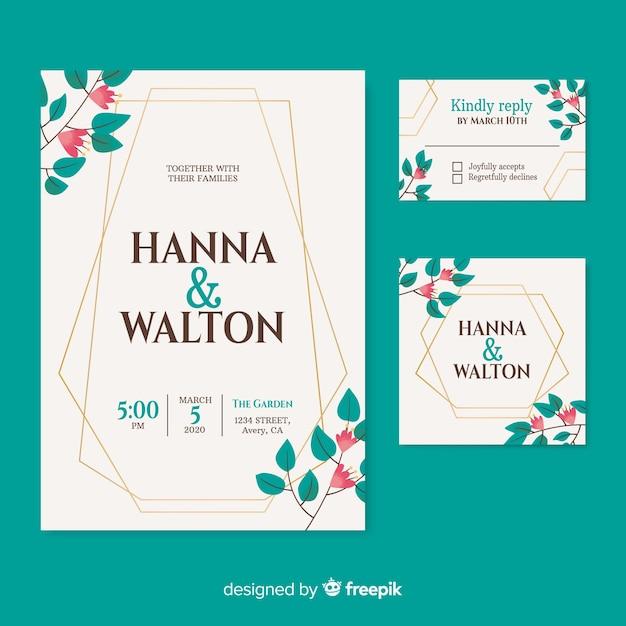 Beautiful wedding invitation on turquoise background Free Vector