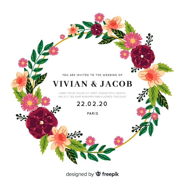 Beautiful wedding invitation with floral frame Free Vector