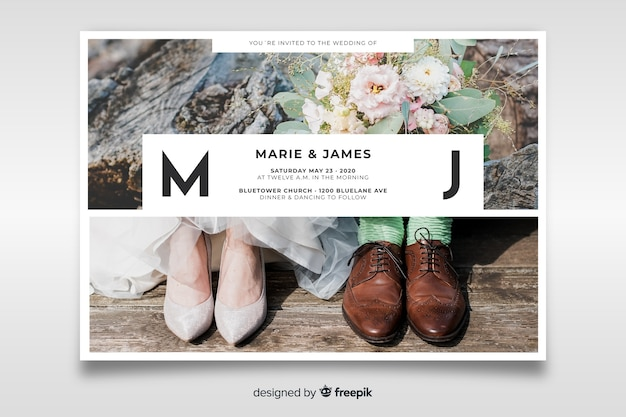 Beautiful wedding invitation with photo template Free Vector