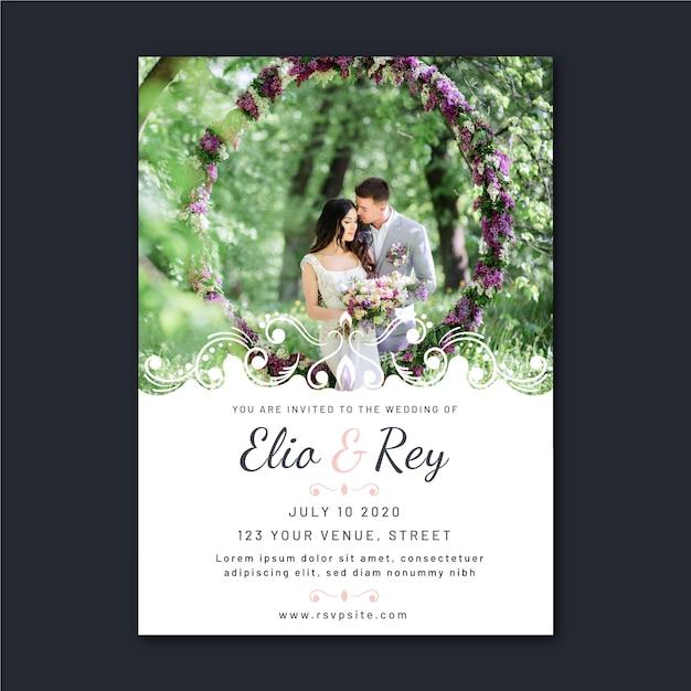 Beautiful wedding invitation with photo Free Vector