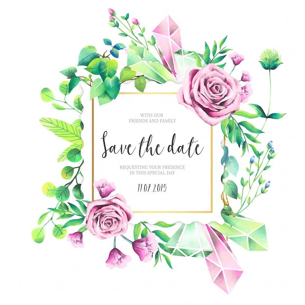 Beautiful Wedding Invitation with Pink Roses Free Vector