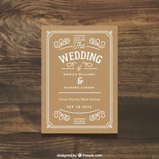 Beautiful wedding invitation with simple ornaments vector free beautiful wedding invitation with simple ornaments free vector stopboris Choice Image