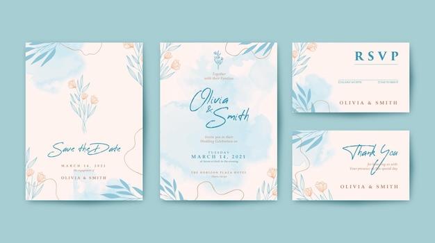 Красивое свадебное приглашение с акварельным фоном Premium векторы
