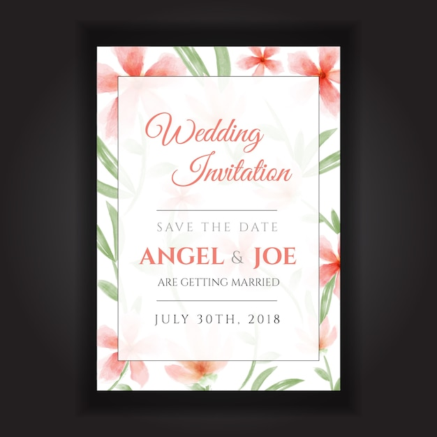 Beautiful wedding invitation with watercolor flower design vector beautiful wedding invitation with watercolor flower design premium vector stopboris Image collections
