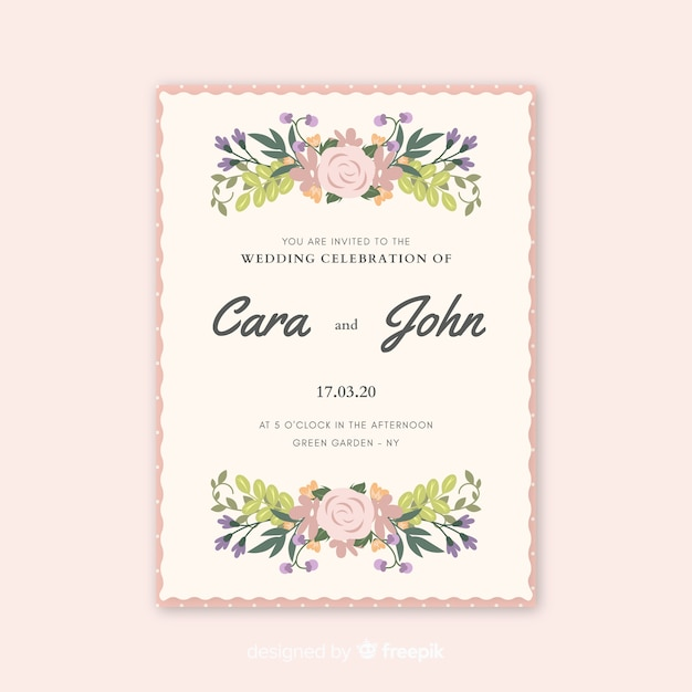 Beautiful wedding invitation with watercolor flowers Free Vector