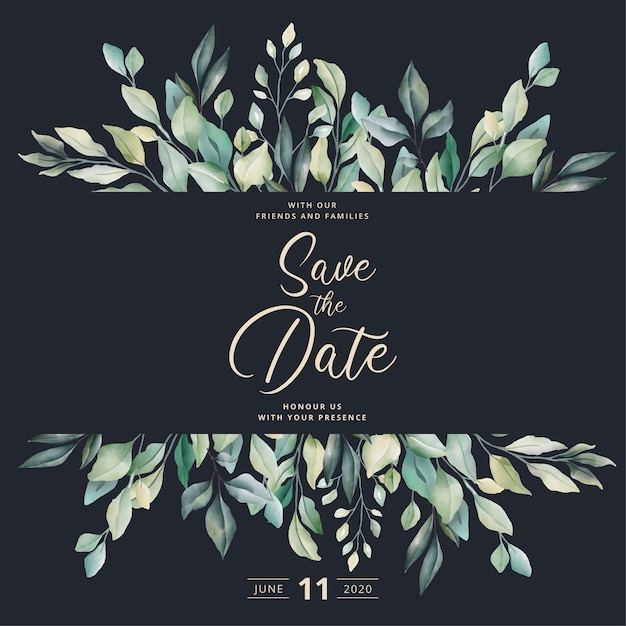 Beautiful wedding invitation with watercolor leaves Free Vector