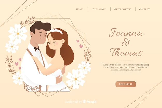 Beautiful wedding landing page Free Vector