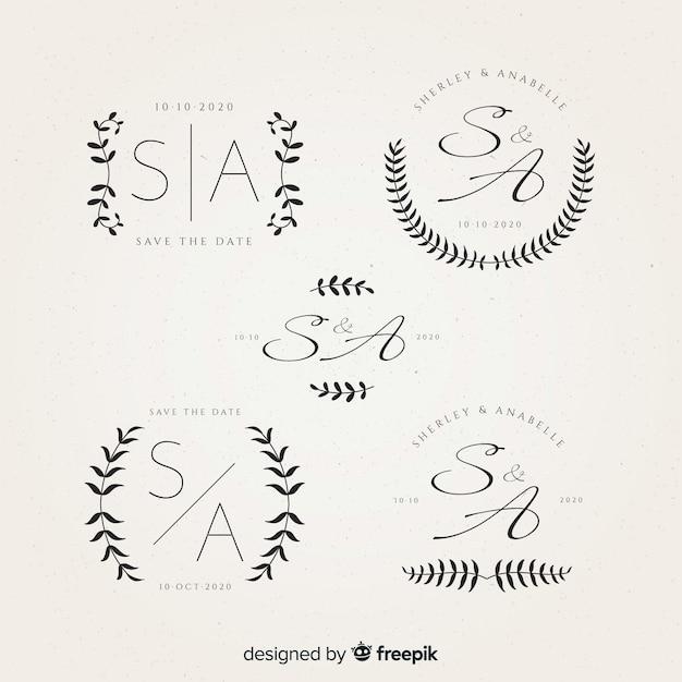 Beautiful wedding monogram logos Free Vector