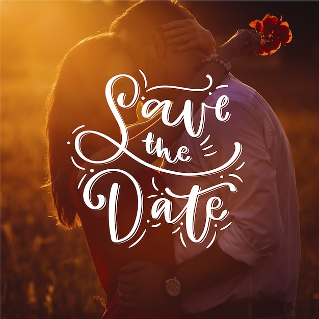 Beautiful wedding save the date with photo Free Vector