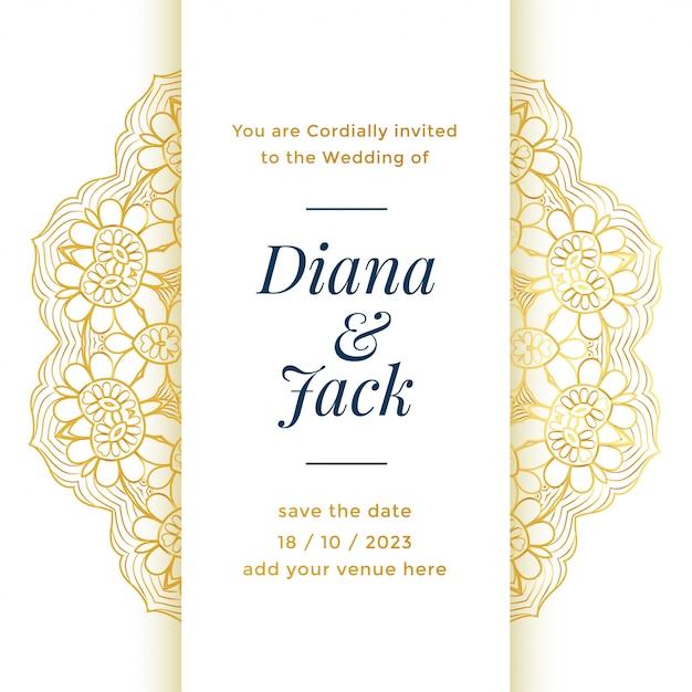王室の結婚のための美しい結婚式のテンプレートデザイン 無料ベクター