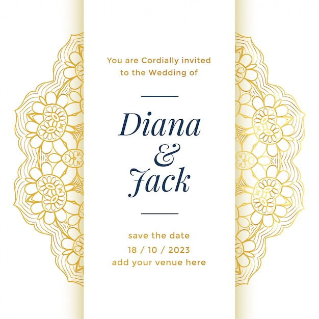 Beautiful wedding template design for royal marriage Free Vector