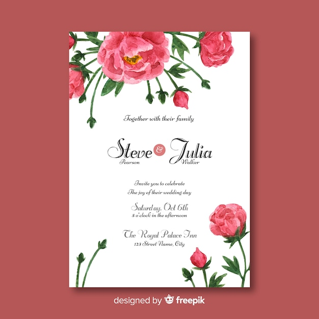 Beautiful wedding template with peony flowers design Vector | Free ...