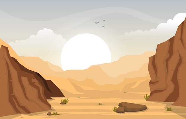 Beautiful western desert landscape with sky rock cliff mountain illustration Premium Vector
