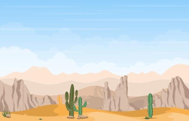 Beautiful western desert landscape with sky rock cliff mountain illustration Premium Vector