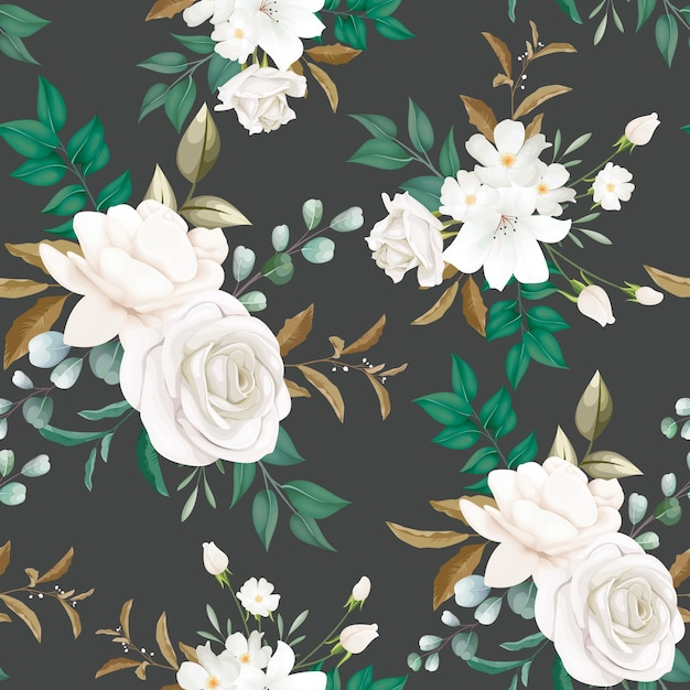 Beautiful white flower seamless pattern Free Vector