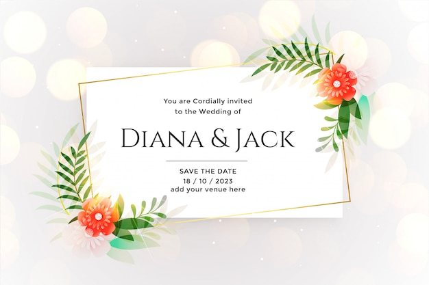 Beautiful white wedding card with bokeh effect Free Vector