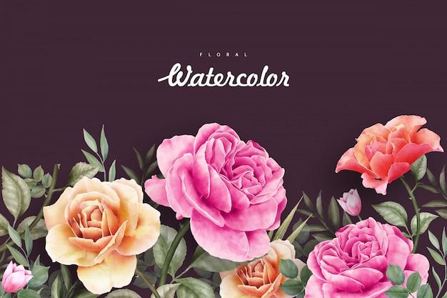 Beautiful wild floral watercolor background Premium Vector