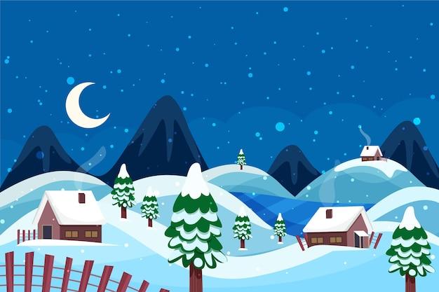 Красивый зимний пейзаж фон с домами Premium векторы
