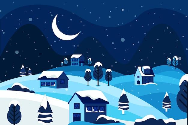 夜の美しい冬の風景 無料ベクター