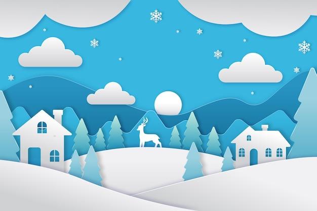 紙のスタイルで美しい冬の風景 無料ベクター
