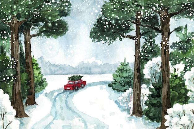 Красивый зимний пейзаж акварелью Premium векторы