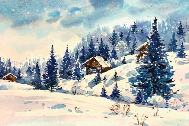 Bellissimo paesaggio invernale in acquerello Vettore gratuito