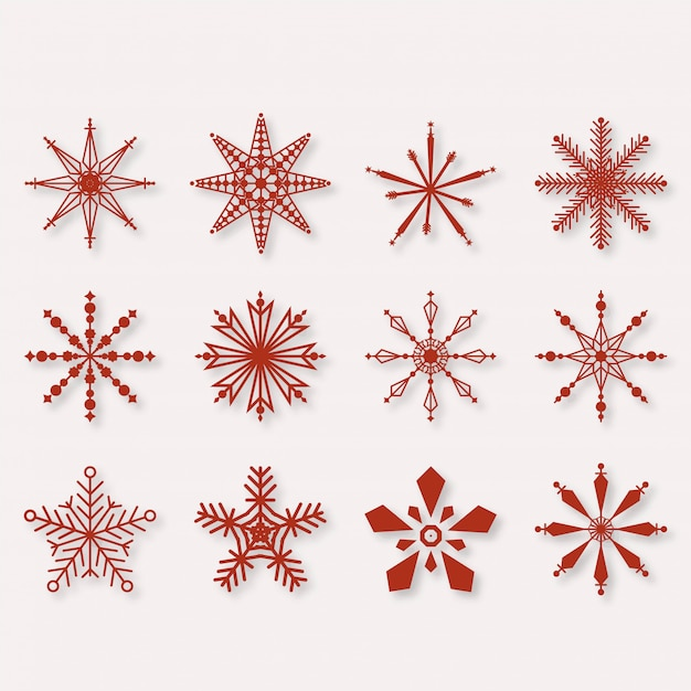 Beautiful winter snowflakes set elements Free Vector
