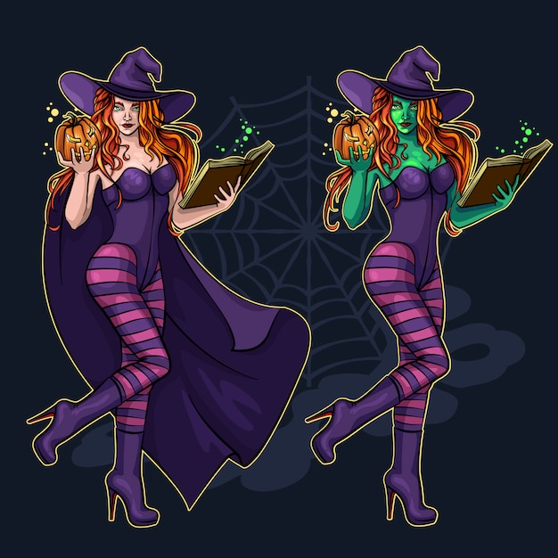 Beautiful witch in full growth with a magic book and a pumpkin for halloween Premium Vector