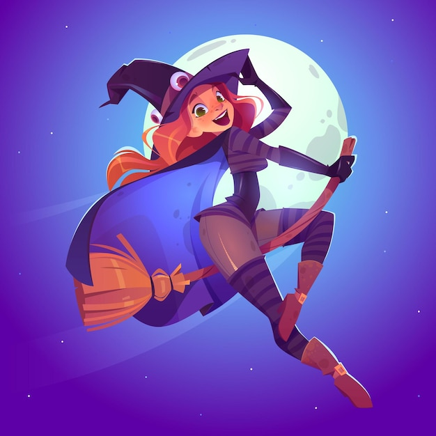 Beautiful witch, redhead woman in spooky hat flying on broom in night sky Free Vector