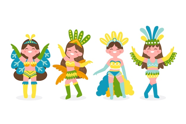 Beautiful woman dancers dressed in colourful clothes Free Vector