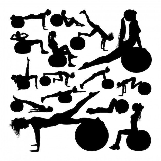 Beautiful woman doing fitness silhouettes Premium Vector