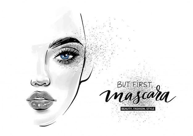 Premium Vector Beautiful Woman Face But First Mascara