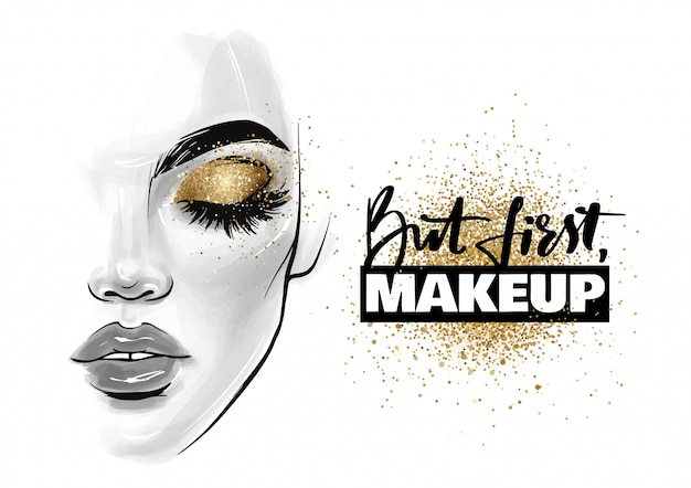 Beautiful woman face. girl portrait with black lashes, brows and phrase but first, makeup Premium Vector