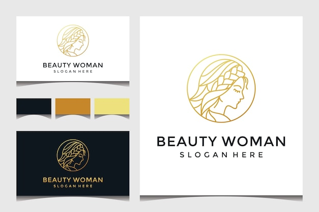 Beautiful woman face with line art and gold style logo Premium Vector