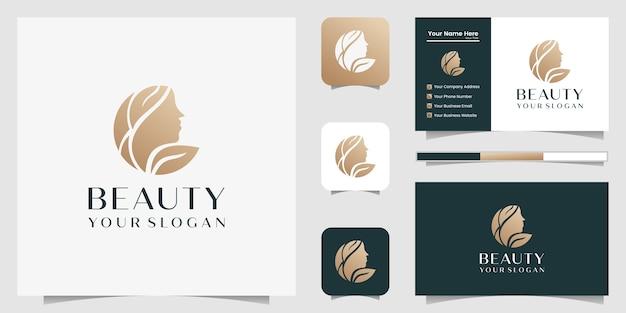 Beautiful woman hair salon gold gradient logo  and business card Premium Vector