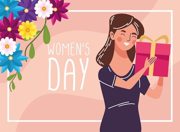 贈り物と女性の日のレタリングイラストに満足の美しい女性 Premiumベクター