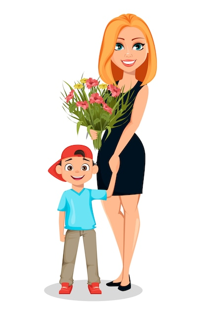 Beautiful woman holds hand of her little son Premium Vector