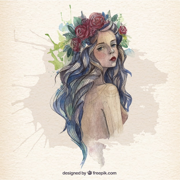 Beautiful woman in watercolor style vector free download beautiful woman in watercolor style free vector voltagebd Images